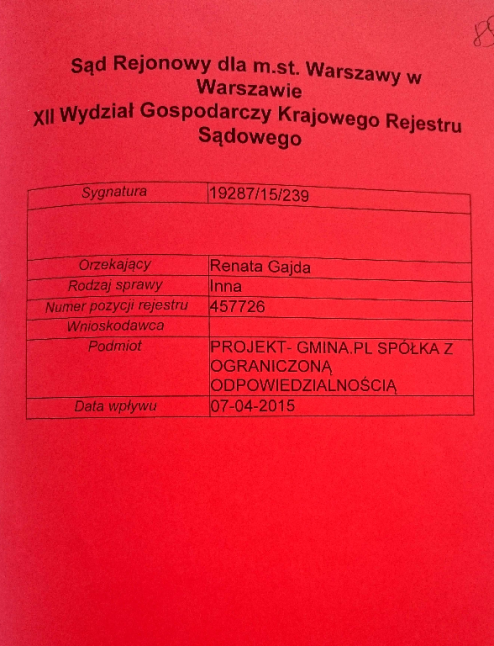 Akta jedynej firmy, którą aktualnie posiada Jakub Meresiński w Polsce