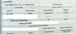 Jakub Meresiński był upoważniony do odbioru poczty w firmie siostry (?). Ale spółka już się stamtąd wyniosła.