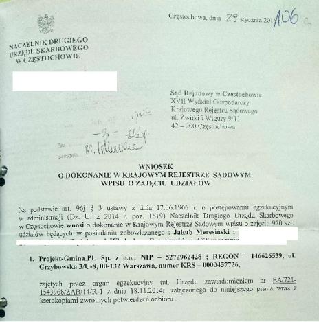 Wniosek o zajęcie udziałów w firmie Meresińskiego